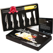 Stanley Fox Premium 7-Piece Cheese Knife Set - Cheese Grater & Zester Included - Complete Stainless Steel Cheese Knives Set Tools - Packaged in a Gift Box