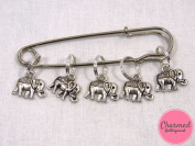 Baby Elephants - 5 Silver Knitting Stitch Markers