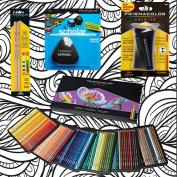 Prismacolor 150-Count Coloured Pencils, Triangular Scholar Pencil Eraser, Premier Pencil Sharpener, Colourless Blender Pencils, and CSS Adult Colouring Book