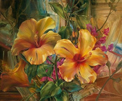 Arts Language Wooden Framed 41cm x 50cm Paint by Numbers Diy Painting Yellow hibiscus flower