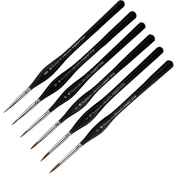 Transon Weasel Hair Detail Paint Brush Set- 6 Sizes with Triangular Handle for Detailing & Art Painting - Acrylic, Watercolour, Oil ,Gouache,Miniatures, Models,Nails