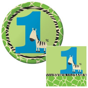 Wild at One Zebra 1st Birthday Dessert Plates & Napkins Party Kit for 8