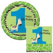 Wild at One Zebra 1st Happy Birthday Lunch Plates & Napkins Party Kit for 8