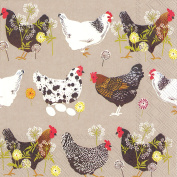 IHR Spatter Hens Chickens Linen Grey Table Lunch 3 Ply Paper Napkins