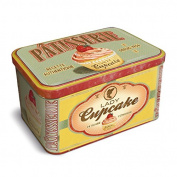Natives 211150 Cookie Jar Biscuit Tin Retro Lady Cupcake Patisserie, Metal, Cupcake, 3D look 23 x 14 x 13 cm