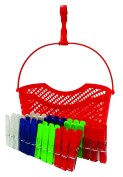 24 x SPRING CLOTHES LAUNDRY WASHING LINE PEGS & BASKET WITH HANGING HOOK
