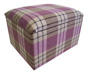 Small Kintyre Heather Tartan Storage Box/Pouffe / Footstool