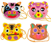 FYZ Brothers 4 Pcs Sewing Kit For Kids Sewing & Craft Kit Kids Sewing Projects Fabric DIY Crafts Purse - Goat, Cow, Tiger, Cat
