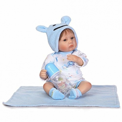 Pinky 17 Inch 43cm Reborn Baby Dolls Lifelike Realistic Looking Alive Soft Body Silicone Doll Vinyl Boy Toddler Xmas Gift