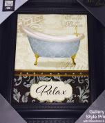 Gallery Rhinestone & Glitter Bathroom Art Decor Print In a Frame - Relax