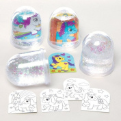 Pony Colour-in Snow Globes Kit for Children to Design Personalise and Display - Creative Summer Craft Set for Kids