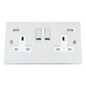 USB Socket 2 Gang - Polished Chrome Flat White Insert Metal Rocker