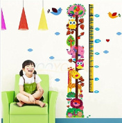 Owl and Monkey Tree Removable Height Chart wall Sticker Kid's Growth Chart wall decal Measure Wall decor for nursery Deoration