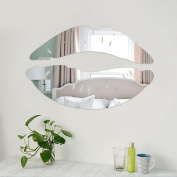 VANKER Mouth Shape Modern . Art Design Removable DIY Mirror Wall Decal Wall Sticker for Bedroom Sitting Room Home Decoration