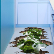 Ouneed 3D Stream Floor Wall Sticker Removable Mural Living Room Decor