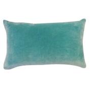 Vivai Home Turquoise Solid Colour Rectangle 12x 20 Cotton Feather Throw Pillow