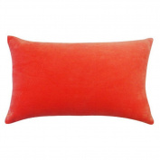 Vivai Home Peach Solid Colour Rectangle 12x 20 Cotton Feather Throw Pillow