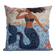 DODOING 46cm x 46cm Home Decorative Cotton Linen Square Throw Pillow Case Cushion Cover Mermaid Ocean Park Theme