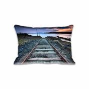Train Rail Way Standard Size Pillow Case 41cm x 60cm Zippered Digital Print Adults Kids Cushion Covers