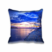 Square 50cm x 50cm Zippered Evening Shoreline Pillowcases Digital Print Adults Kids Cushion Covers