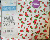 Keeco Bedtime Watermelons Brushed Microfiber Full Sheet Set Red Green White