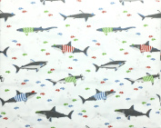 Max Studio Kids Silly Sharks in Colourful Shirts with Clownfish and Bubbles All Cotton Full Size Sheet Set