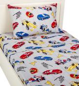 Mk Collection Sheet Set Grey Racing Cars Teen/kids New