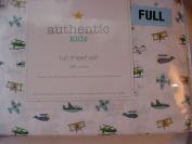 Authentic Kids Multicolor on White Aeroplane Cotton Sheet Set, Full Size