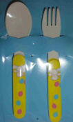 Bodum Baby Cutlery Set (Fork & Spoon) - Bear with Balloon Motif - White with Yellow Handles - Length 14cm