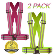 Reflective Vest (2 Pack) | Lightweight, Adjustable & Elastic | Safety & High Visibility for Running, Jogging, Walking, Cycling | Fits over Outdoor Clothing - Motorcycle Jacket / Gear