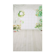 AiBii Vinyl Window Floor Flower Photography Backdrop 0.9m x 1.5m Studio Wedding Background