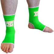 S NEON GREEN DUO MUAY THAI KICKBOXING MARTIAL ARTS MMA SPORTS ANKLE SUPPORT ANKLETS