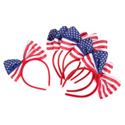 American Flag Bow Headband - Soft & Stretchy Plastic Head Bands with Bows, Set of 6