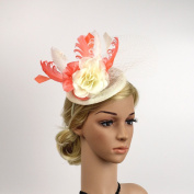 Meiliy Sinamay Fascinator Hat Flower Feather Hair Band Derby Hat