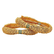 24k Gold Plated Red-Green Ruby Studded Royal Antique Bangles