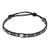 KELITCH Seed Beaded Waxed Cord Bracelet with Natural Freshwater Pearl - H