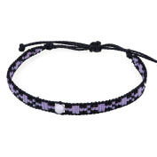 KELITCH Seed Beaded Waxed Cord Bracelet with Natural Freshwater Pearl - I