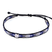 KELITCH Seed Beaded Waxed Cord Bracelet with Natural Freshwater Pearl - E