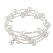 Bella Pearls Freshwater Pearl and Beads Wraparound Sterling Silver Bangle