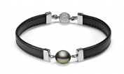 """8-9mm Black Tahitian Cultured Pearl Bracelet with Leather, 7"""""""