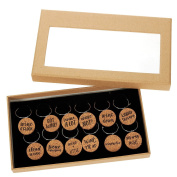 """12 Piece Set of Wine Glass Charms - Natural Cork Funny Design """"Wine Lover"""" Themed Glass Decorations for Parties, Gatherings, Reunions - 2.5cm x 0.5cm"""