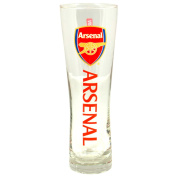 Arsenal FC Official Wordmark Soccer Crest Peroni Pint Glass (One Size)