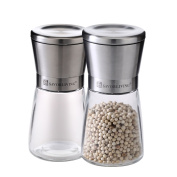 Premium Stainless Steel Salt and Pepper Grinder Set of 2- Brushed Stainless Steel Pepper Mill and Salt Mill, 180ml Glass Round Body,Adjustable Ceramic Rotor - Salt and Pepper Shakers By Savorliving