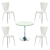 Office Hippo Heavy Duty Cafe Bistro Set, Designed for Commercial Use, 1 x Trumpet Base Table, 4 x Chairs - White