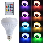 LIYUDL Wireless Bluetooth Speaker Music Playing Bulb Light,12W E27 LED RGB Lamp Light with Remote Controller