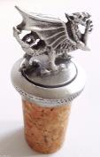 Wales Welsh Dragon Cork & Pewter Wine Spirits Bottle Stopper Stop