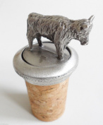 Highland Cow Scottish Scotland Cork & Pewter Wine Spirits Bottle Stopper Stop