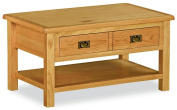 Bergerac Petite Coffee Table / Rustic Oak Wax Finish 1 Drawer Living Room Table