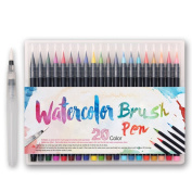 Premium Watercolour Soft Brush Pen - Flexible Tip Painting Brush, Water Colouring Marker Pens for Children Adult Colouring Books, Manga, Comic, Calligraphy - 20 Colour Set