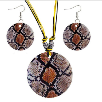 Iumer Geometric figure shell painted jewellery set pendant necklace earrings two pieces